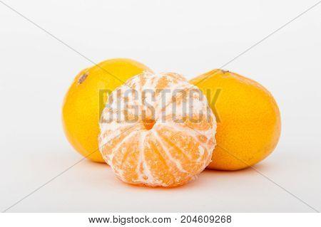 mandarins, sweet mandarin on white background, vitamin C, citrus fruits