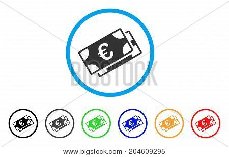 Euro Banknotes rounded icon. Style is a flat Euro banknotes grey symbol inside light blue circle with black, gray, green, blue, red, orange versions. Vector designed for web and software interfaces.