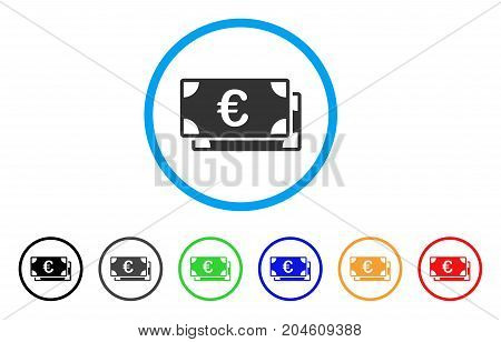 Euro Bills rounded icon. Style is a flat Euro bills gray symbol inside light blue circle with black, gray, green, blue, red, orange color versions. Vector designed for web and software interfaces.