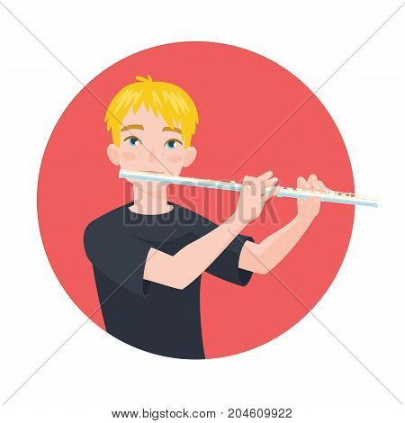 Musician playing flute. Boy flutist is inspired to play a classical musical instrument. Vector illustration in cartoon style in the red circle on white background for your design and print.