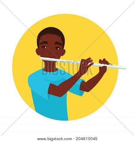 Musician playing flute. Boy flutist is inspired to play a classical musical instrument. Vector illustration in cartoon style in the yellow circle on white background for your design and print.