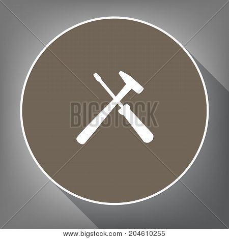 Tools sign illustration. Vector. White icon on brown circle with white contour and long shadow at gray background. Like top view on postament.