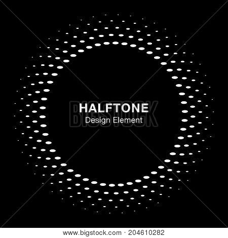 White halftone vector circle frame oval dots logo emblem on black background, design element for medical, treatment, cosmetic. Round border Icon using halftone circle dots raster texture.