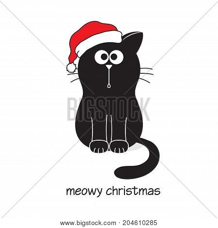Cute and funny black cat in Santa's hat. Meowy Merry Christmas card