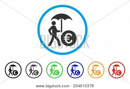 Euro Financial Umbrella rounded icon. Style is a flat Euro financial umbrella grey symbol inside light blue circle with black, gray, green, blue, red, orange versions.