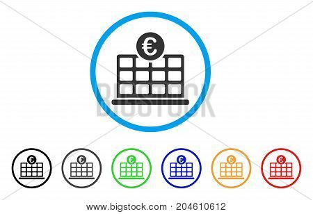 Euro Hotel rounded icon. Style is a flat Euro hotel gray symbol inside light blue circle with black, gray, green, blue, red, orange color versions. Vector designed for web and software interfaces.