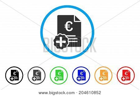 Euro Medical Invoice rounded icon. Style is a flat Euro medical invoice gray symbol inside light blue circle with black, gray, green, blue, red, orange color versions.
