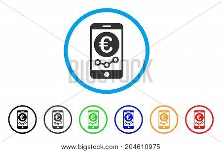 Euro Mobile Market Monitoring rounded icon. Style is a flat Euro mobile market monitoring grey symbol inside light blue circle with black, gray, green, blue, red, orange color versions.