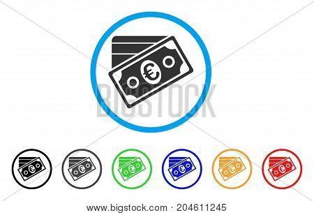 Euro Money Credit Card rounded icon. Style is a flat Euro money credit card gray symbol inside light blue circle with black, gray, green, blue, red, orange variants.