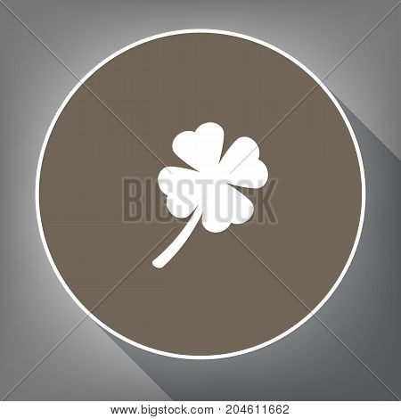 Leaf clover sign. Vector. White icon on brown circle with white contour and long shadow at gray background. Like top view on postament.