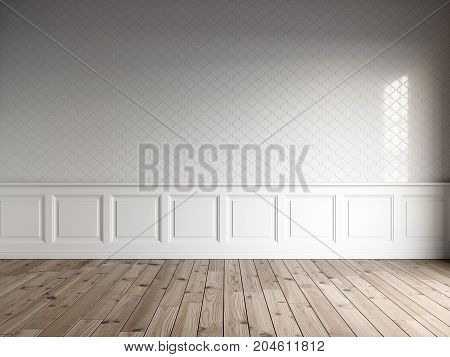 3d render of white interior with classic panels, tiles on wall and natural floor.