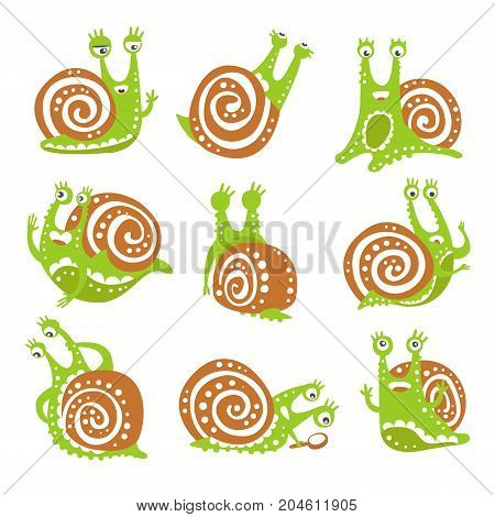 Cute snail character set, funny mollusk with different emotions colorful hand drawn vector Illustrations on a white background
