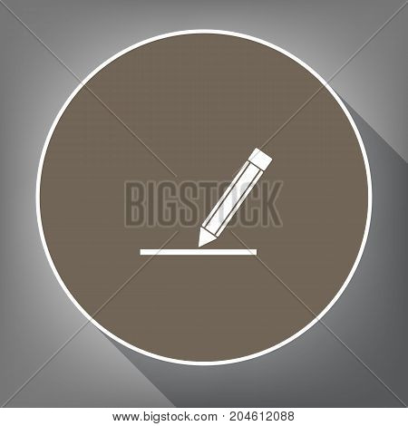 Pencil sign illustration. Vector. White icon on brown circle with white contour and long shadow at gray background. Like top view on postament.