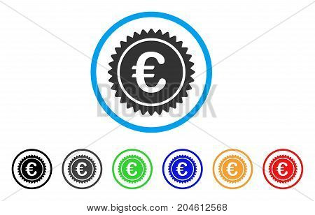 European Quality Stamp rounded icon. Style is a flat European quality stamp gray symbol inside light blue circle with black, gray, green, blue, red, orange color versions.