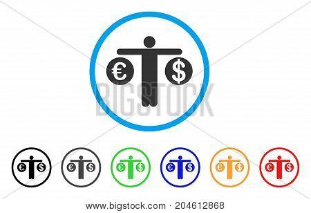Person Compare Dollar And Euro rounded icon. Style is a flat person Compare dollar and euro gray symbol inside light blue circle with black, gray, green, blue, red, orange color versions.