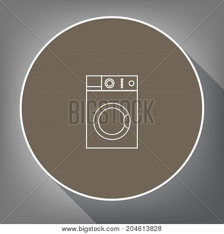 Washing machine sign. Vector. White icon on brown circle with white contour and long shadow at gray background. Like top view on postament.