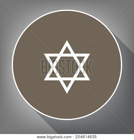 Shield Magen David Star. Symbol of Israel. Vector. White icon on brown circle with white contour and long shadow at gray background. Like top view on postament.