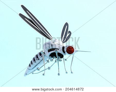 3D rendering of a robotic mosquito Light blue background.