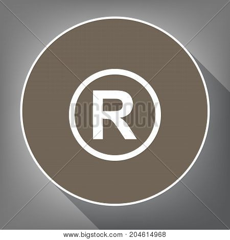Registered Trademark sign. Vector. White icon on brown circle with white contour and long shadow at gray background. Like top view on postament.
