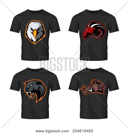 Furious panther, mammoth, eagle and ram sport vector logo concept set isolated on white background.  Street wear mascot team badge design. Premium quality wild animal emblem t-shirt tee print illustration.