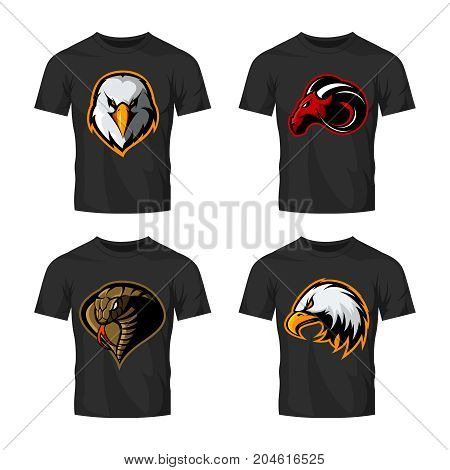 Furious cobra, eagle and ram sport vector logo concept set isolated on white background.  Street wear mascot team badge design. Premium quality wild animal emblem t-shirt tee print illustration.