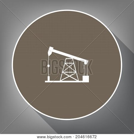 Oil drilling rig sign. Vector. White icon on brown circle with white contour and long shadow at gray background. Like top view on postament.