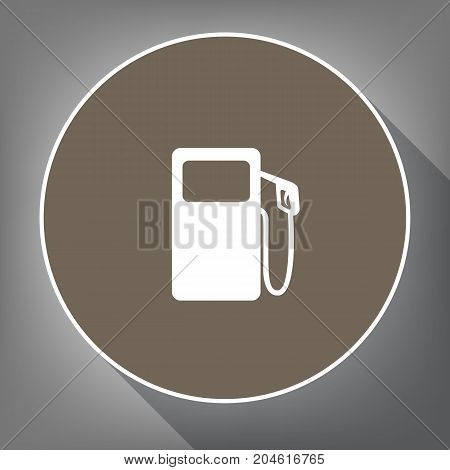 Gas pump sign. Vector. White icon on brown circle with white contour and long shadow at gray background. Like top view on postament.