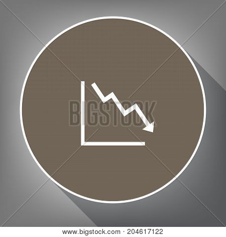Arrow pointing downwards showing crisis. Vector. White icon on brown circle with white contour and long shadow at gray background. Like top view on postament.