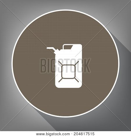 Jerrycan oil sign. Jerry can oil sign. Vector. White icon on brown circle with white contour and long shadow at gray background. Like top view on postament.