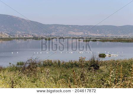 Panoramic view of the natural lake Hemaditida (northwest Greece, Macedonia)
