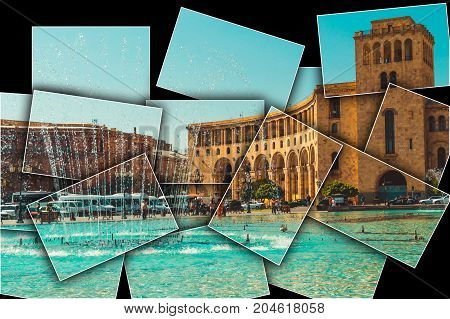 Collage black background Dancing Fountains, architectural complex on Republic Square. Touristic architecture landmark. Sightseeing in Yerevan. City tour. Government House. Travel and tourism concept.