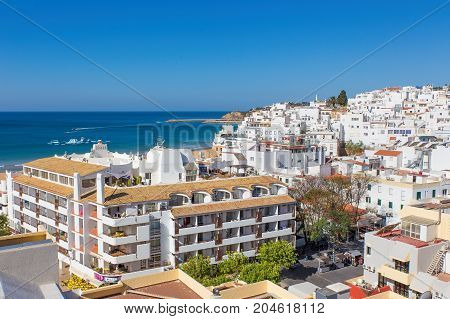 City Albufeira in Portugal with buildings at coast