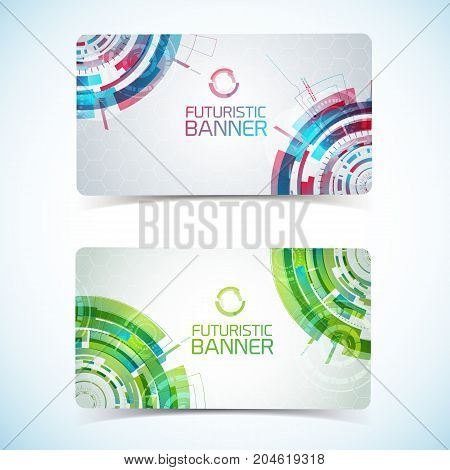 Two modern virtual technology tight horizontal banners set with futuristic background elements circles club card design vector illustration