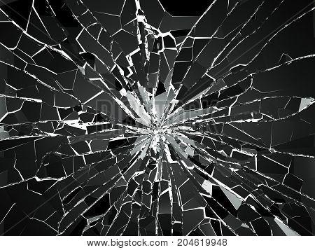 Shattered Glass Over White Background