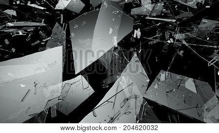 Shattered Or Demolished Glass Over Black Background
