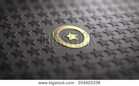 Many stars in relief on black paper background with focus on a golden one surrounded by a circle. Concept of Uniqueness and quality difference. 3D illustration