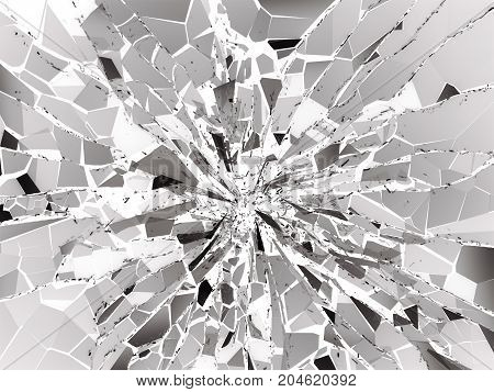 Damaged Or Broken Glass On White