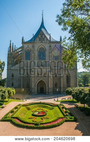 Summer view of gothic Saint Barbora cathedral (UNESCO) in the center of Kutna Hora