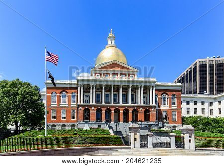 The Massachusetts State House Under Blue Sky