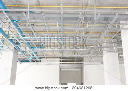 industry water and electricity piping systems in buildings