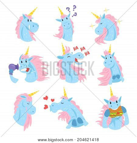 Cute unicorn characters set, funny mythical animals with different emotions set colorful vector Illustrations on a white background
