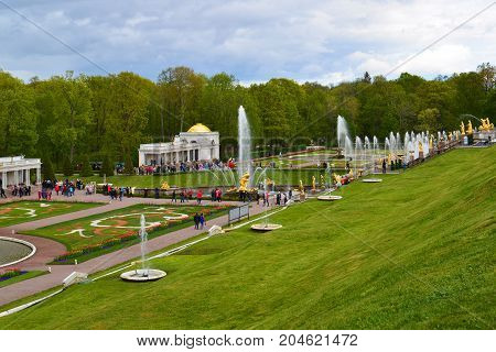 Peterhof, Russia - June 03. 2017. A view of a large stalls with fountains