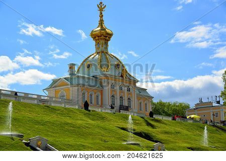 Peterhof, Russia - June 03. 2017. A gallery and terrace of a large palace