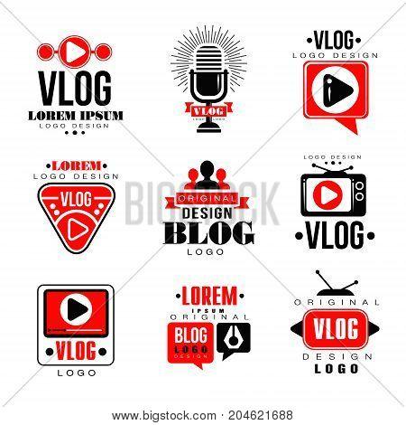 Vlog and blog original logo design set, video blogging or video channel badges vector Illustrations on a white background