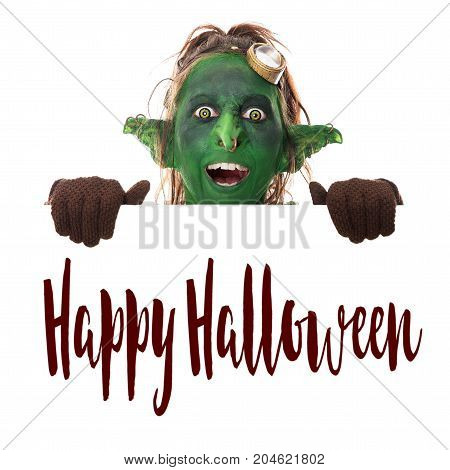 Laughing Green Goblin Looking Across The Text Happy Halloween