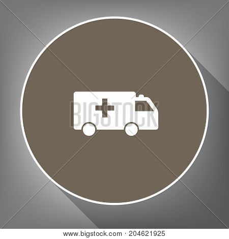 Ambulance sign illustration. Vector. White icon on brown circle with white contour and long shadow at gray background. Like top view on postament.
