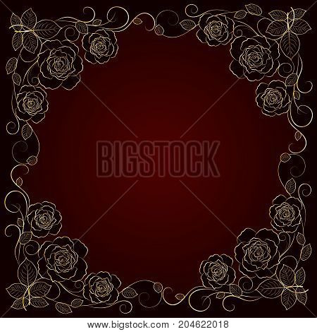 Beautiful gold frame with floral pattern on dark background.