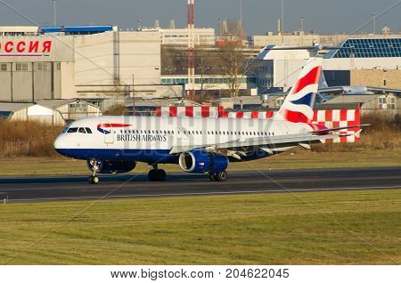 Airbus A320 British Airways, Airport Pulkovo, Russia Saint-petersburg October 30, 2014