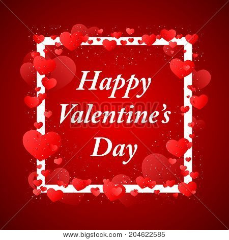 Happy Valentins Day greeting in a white frame on red background. Vector illustration.