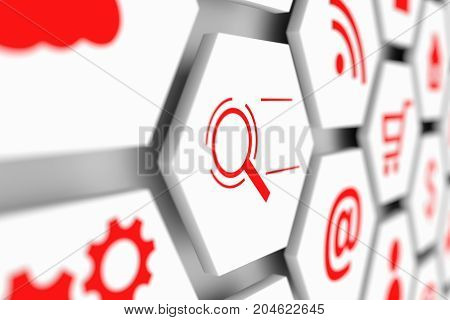 Internet search business concept cell blurred background 3d illustration
